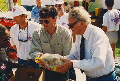 After the Devastation of Hurricane Andrew in South Florida in 1992. Franklin and his father took part in a food distribution for the victims.