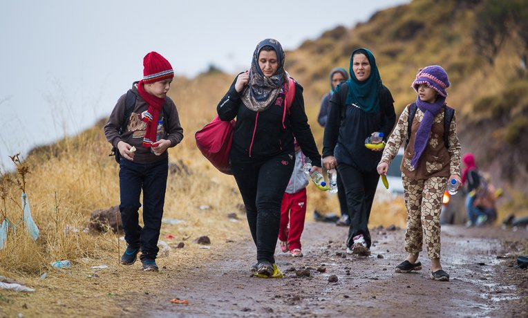Samaritan's Purse provided food and water to refugees as they set off across the island.