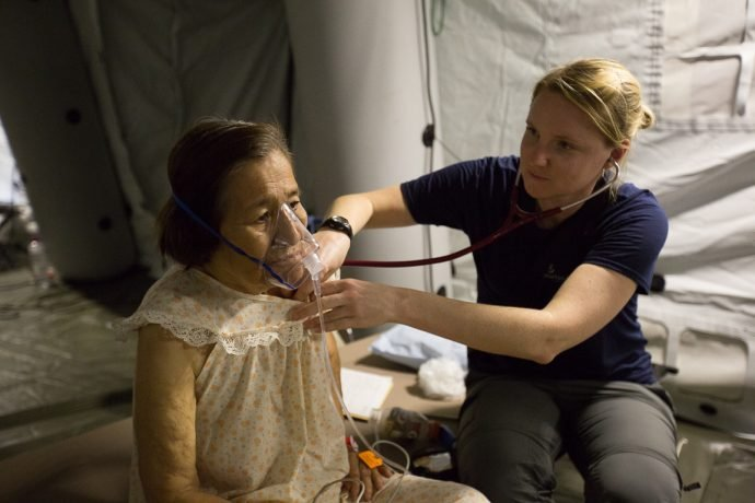Samaritan's Purse personnel are busy caring for patients at our emergency field hospital in Chone.