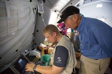 Doctors at work in the Samaritan's Purse emergency field hospital in Ecuador.