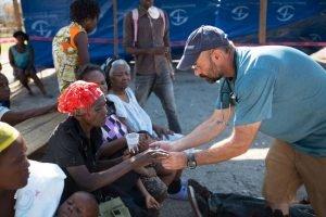 Treating patients at the cholera clinic.