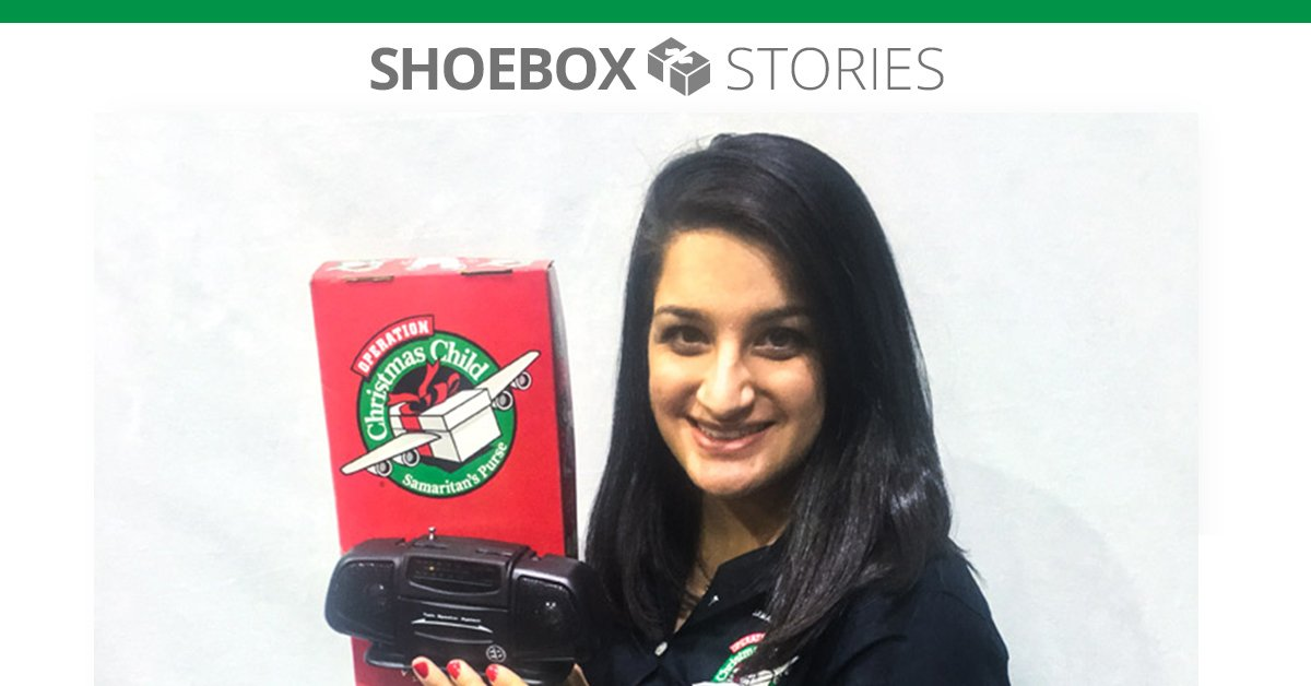 Dania with a shoebox