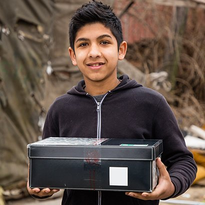 Teenage boy in Serbia with shoebox gift