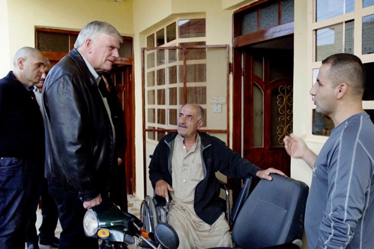 Samaritan's Purse President Franklin Graham meets with Christians in Iraq where we are rebuilding homes destroyed by ISIS.