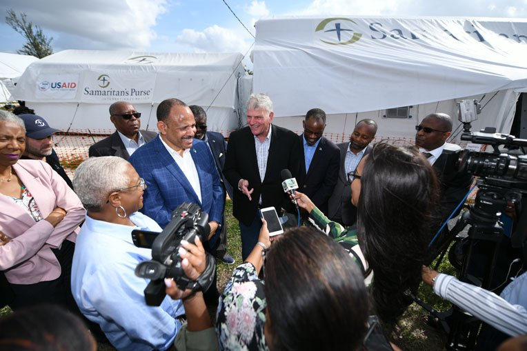 Franklin Graham meets with Bahamas Minister of Health Duane Sands in the Bahamas.