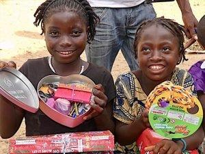 Girls explore shoebox gift