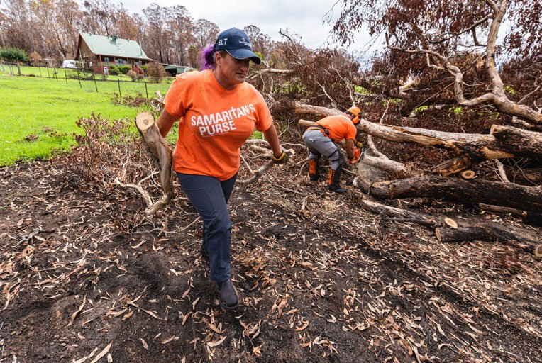 Amy and Mike work hard to remove yard debris.