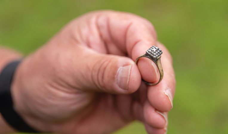 Samaritan's Purse volunteers recovered a diamond ring belonging to Terry's mother from the ashes of his home.