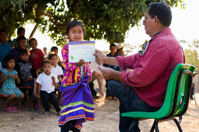 """LIDIA, 6, WALKED A MILE TO LA LAGUNA TO ATTEND THE GREATEST JOURNEY CLASSES, INCLUDING A GRADUATION CEREMONY WHERE SHE RECEIVED A BIBLE. HER FAVORITE VERSE IS, """"LET THE LITTLE CHILDREN COME TO ME"""" (MATTHEW 19:14)."""