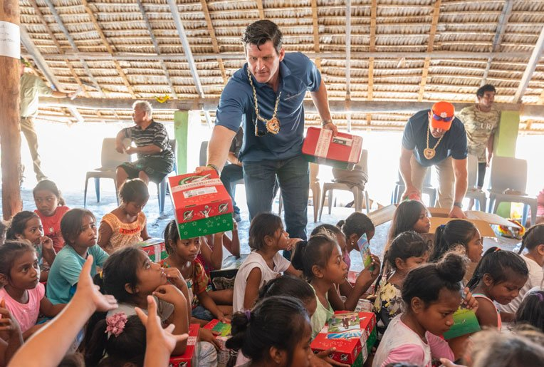 EDWARD GRAHAM, SON OF SAMARITAN'S PURSE PRESIDENT FRANKLIN GRAHAM, ALSO JOINED RECENT EFFORTS IN REACHING THE PACIFIC ISLANDS THROUGH OPERATION CHRISTMAS CHILD.