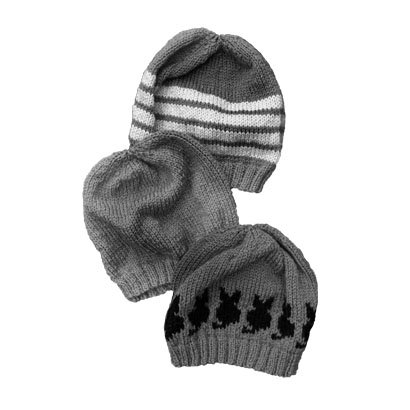 Wool beanie hat black and white