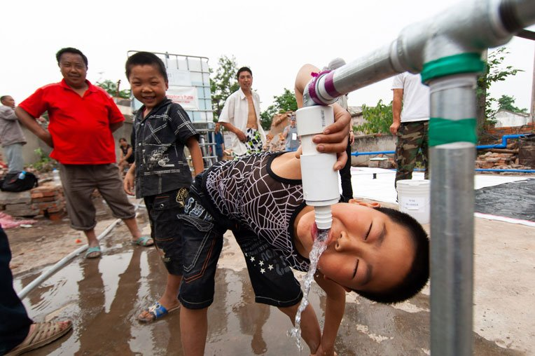 We also provided clean water to earthquake-devastated areas of China's Sichuan Province.