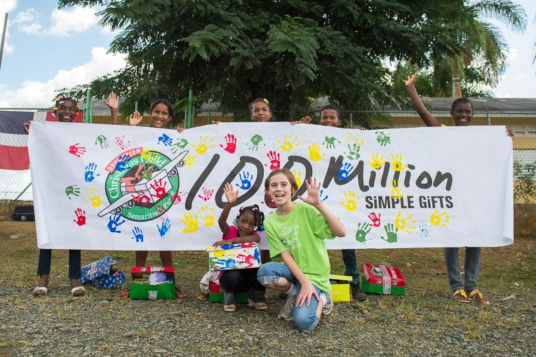 The 100 millionth Operation Christmas Child shoebox was delivered in the Dominican Republic in 2012.
