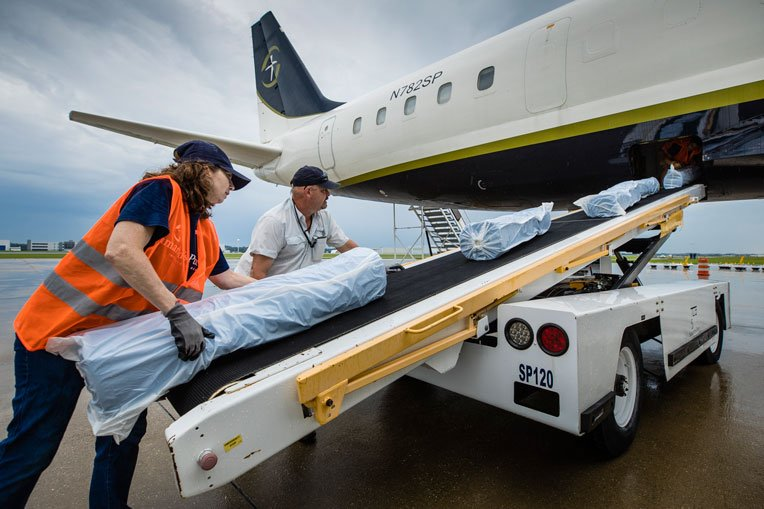 The second airlift to Lebanon carried emergency shelter plastic among other critical relief supplies.