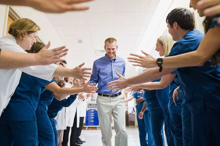 Doctors, nurses, friends, and family joined in celebration as Dr. Brantly was released from Emory Hospital after treatment for Ebola