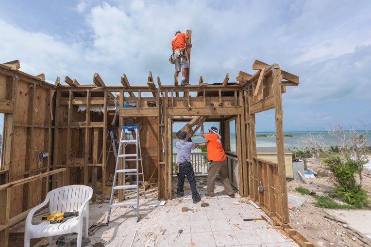 We're rebuilding homes destroyed during Hurricane Dorian.