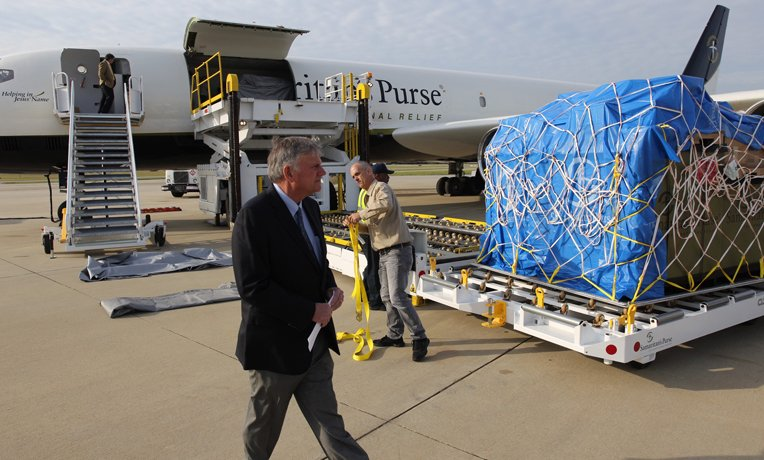 Franklin Graham was in Greensboro for the DC-8 airlift of the field hospital to Ecuador.