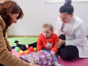 Toddler explores gift