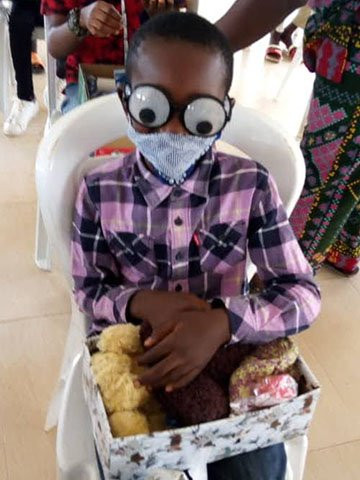Boy wearing funny goggles