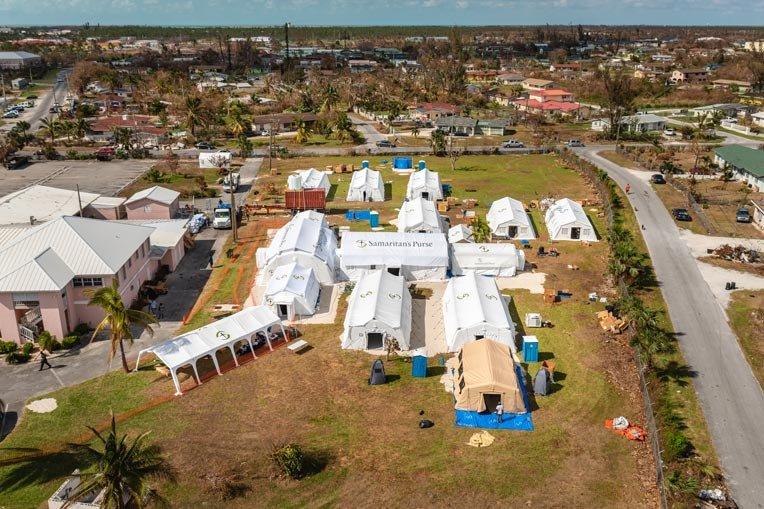 n aerial view of our Emergency Field Hospital in the Bahamas.