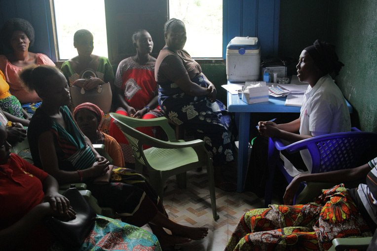"""<p id=""""caption-attachment-148633"""" class=""""wp-caption-text"""">Mothers at the Shari Health Center receive training in how to care for their children and provide for their nutrition.</p>"""