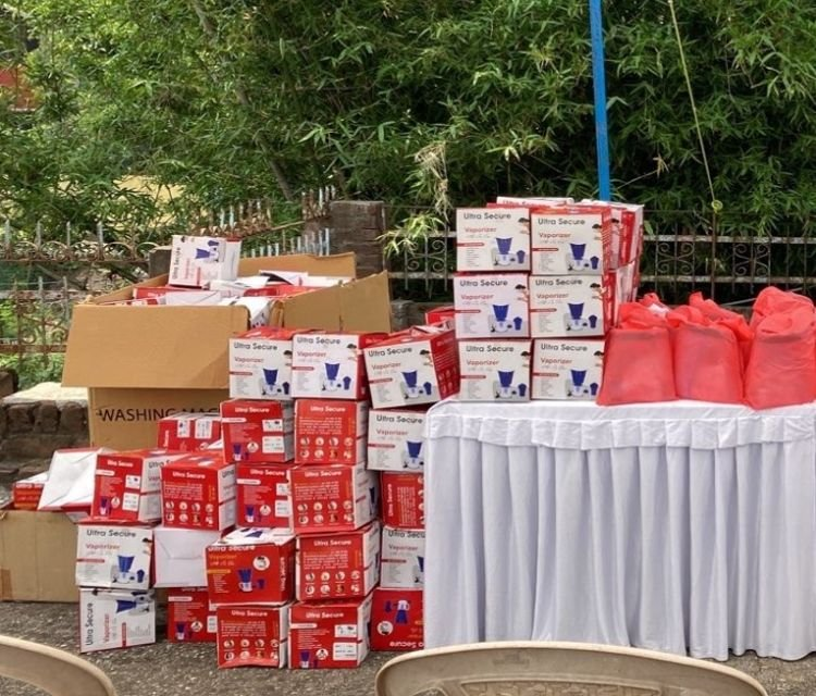 Emergency supplies being prepared for distribution in northern India.