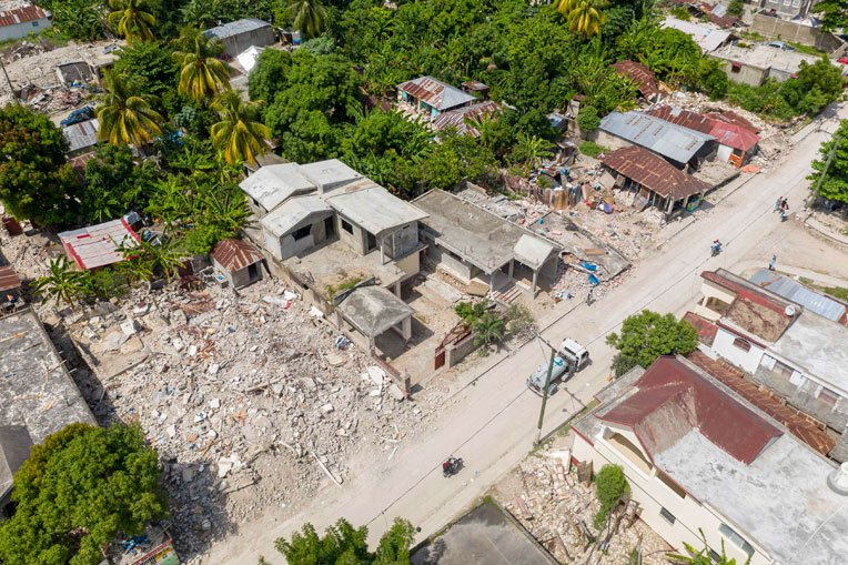 Many homes were reduced to rubble.