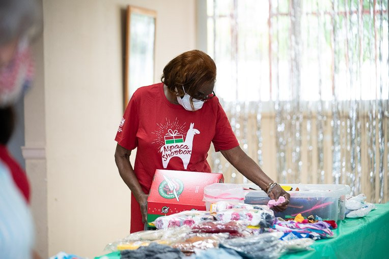 Sallie works throughout the year to prepare her shoeboxes for National Collection Week.